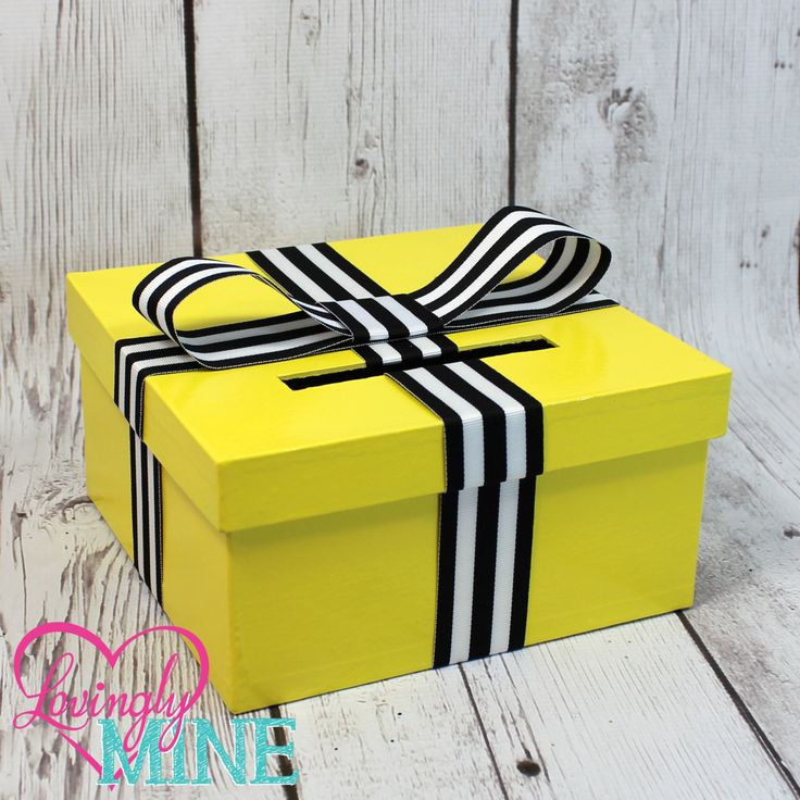 Mini Card Box - Size 8 x 8 x 4 - Bee Yellow Box with White & Black Striped Ribbon-  Baby Shower, Birthday - Advise Game Box, Raffle Box by LovinglyMine on Etsy - Gender Reveal - Bee Bumble Bee Theme