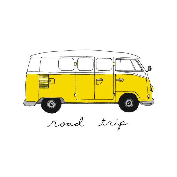 Volkswagen Bus- Choose Your Color- 8x10 Illustration Print ($17) ❤ liked on Polyvore