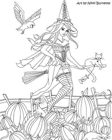 293 best Witch coloring images on Pinterest | Adult coloring, Art ...