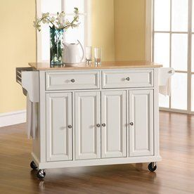 Crosley Furniture 52-in L x 18-in W x 36-in H White Kitchen Island with Casters