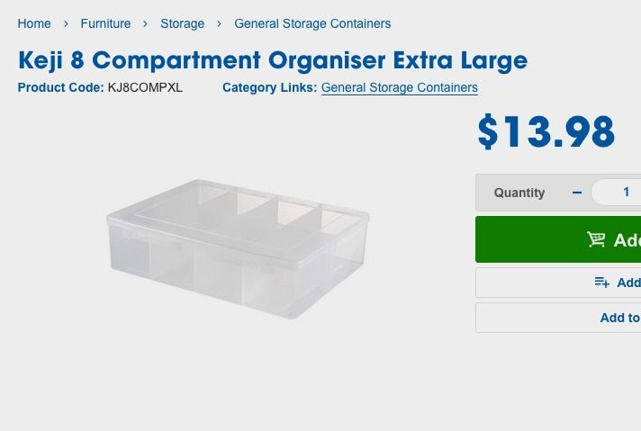 Keji 8 Compartment Organiser Extra Large | Officeworks