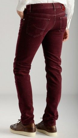 Peach skin feel burgundy trousers