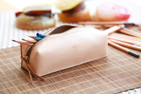 Personalise Pencil Case Hand Stitch Percil Case Leather by HYKC