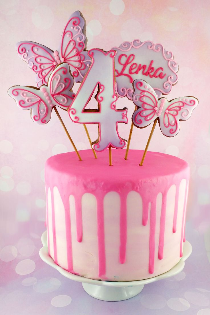 Cookie-toppers for girls birthday cake. Pastel pink and purple, buttlerflies, number and label.