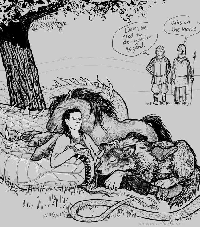 Loke/Loki and three of his kids by Devilry.deviantart.com on @deviantART