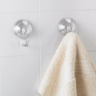 Our collection of Power Lock Suction accessories works hard in your bathroom to keep you organized.  Each mounts easily and securely to a mirror or tiled surface with extra-strong suction cups.  The hooks, available in two sizes, are ideal for a washcloth, towel or loofah.  The Bath Accessories keep grooming essentials handy and out of harm's way.