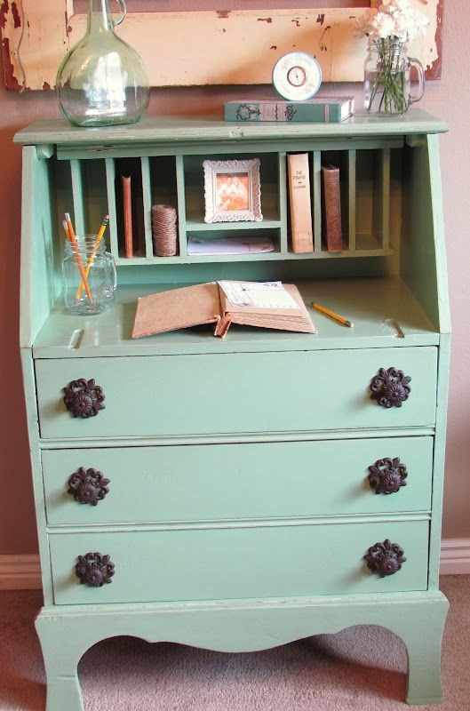 Taking the drop down door off the secretary desk makes so much sense. Love it!- Wonder Forest -