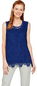 Isaac Mizrahi Live! Floral Lace Tank Top with Scallop Hem