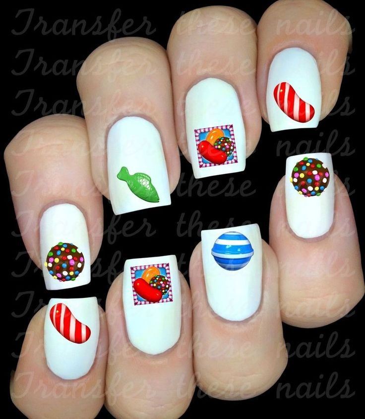Pra começar o painel: Unhas Candy Crush >o< Stickers pour ongles Candy Crush / body art manucure nails