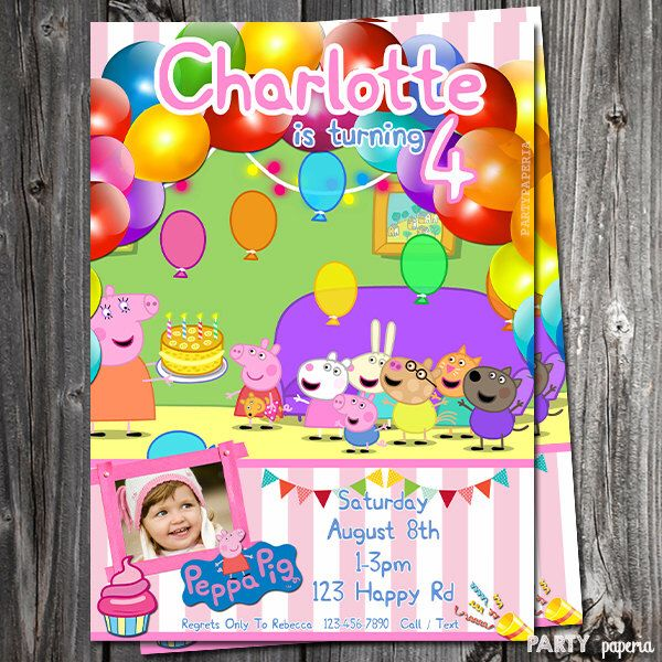 A personal favorite from my Etsy shop https://www.etsy.com/listing/241432504/peppa-pig-invitation-peppa-pig-thank-you