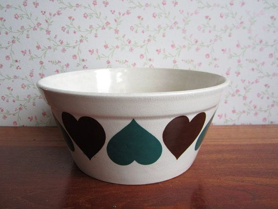 Vintage Ditmar-Urbach Czechoslovakia Fruit Salad Bowl Dish Brown Petrol Green…