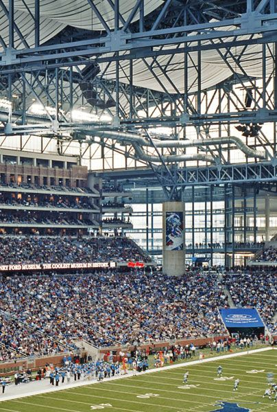 interior of Ford Field, the home of the Detroit Lions