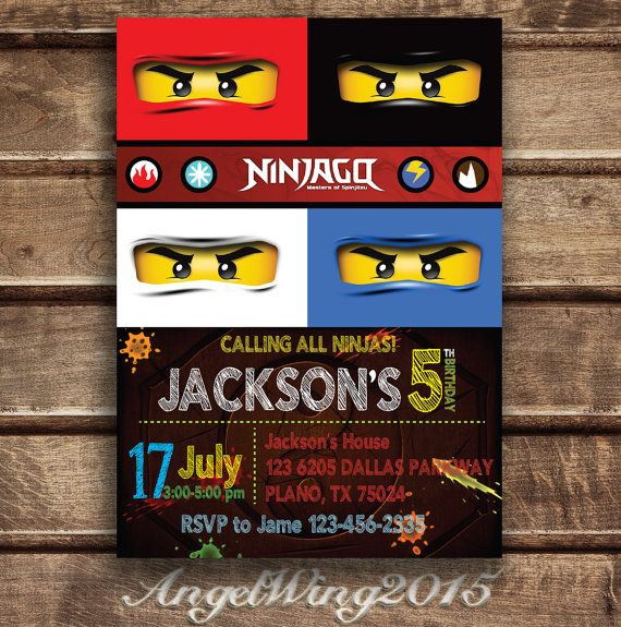 Kais invitations!!! Lego Ninjago Invitation for Birthday Party DIY by AngelWings2015