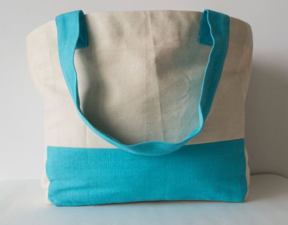 Tote Bags Color Block Cotton Twill Bags with by AmoreBeaute
