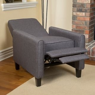 Relax in style with this Christopher Knight Home Darvis Smokey Grey Fabric Recliner Club Chair featuring a solid frame and sturdy feet for added stability and strength. This comfortable reclining club