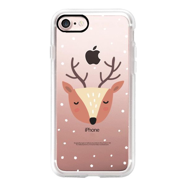 Merry Christmas and Happy Holidays. Cute deer - iPhone 7 Case, iPhone... found on Polyvore featuring accessories, tech accessories, phone, iphone case, phone cases, iphone cases, apple iphone case and iphone cover case