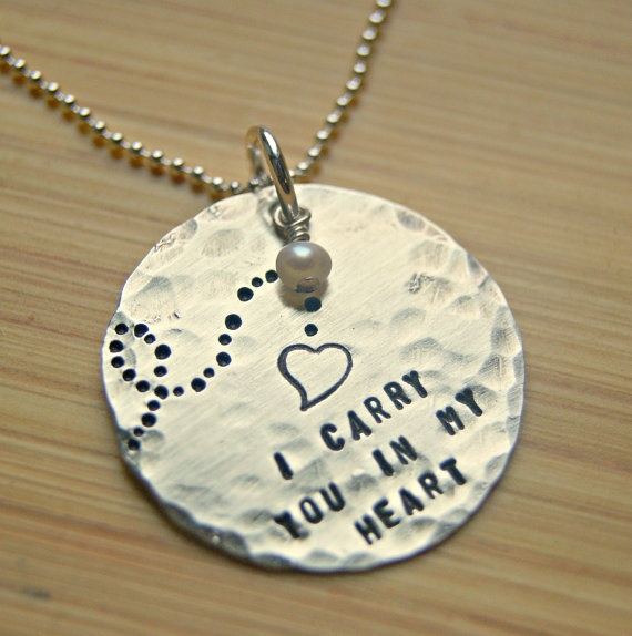 """to memorialize our loss, i want to get this, hoping to add """"until we hold you in heaven"""" stamped on the back.: Silver Handstamp, Heart Remember, Necklaces Personalized, Remember Necklaces, Beautiful Gifts, Heart Necklaces, Sterling Silver, My Heart, A Tattoo"""