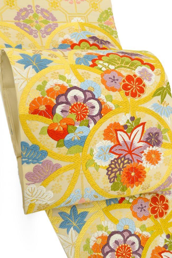 【洛陽織物】 西陣織唐織袋帯 「花七宝小葵文・薄香」