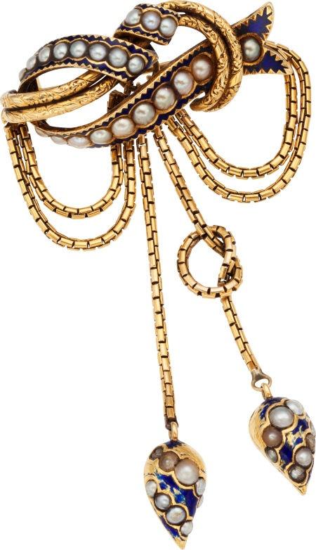 Brooches - Pins, Victorian Cultured Pearl, Enamel, Gold Brooch.  #TuscanyAgriturismoGiratola