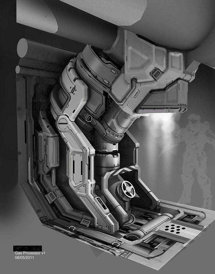 Halo 4 - Gas Processor design, Michael Pedro on ArtStation at http://www.artstation.com/artwork/halo-4-gas-processor-design