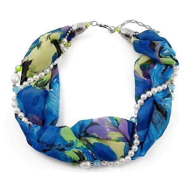 Šála s bižuterií Eleonora 299el004-30.50 - modrozelená s květy - Bijoux Me!