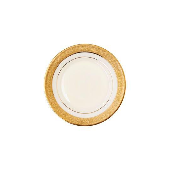 Piatto da frutta in porcellana fine bone china. Bordo esterno decorato e profilo interno finitura dorata.