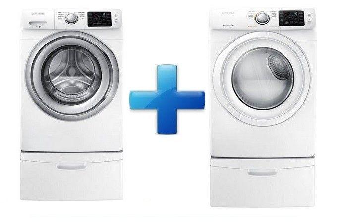 Samsung - Paquete de lavadora y secadora con capacidad de carga de 18 kg y acceso frontal - Blanco