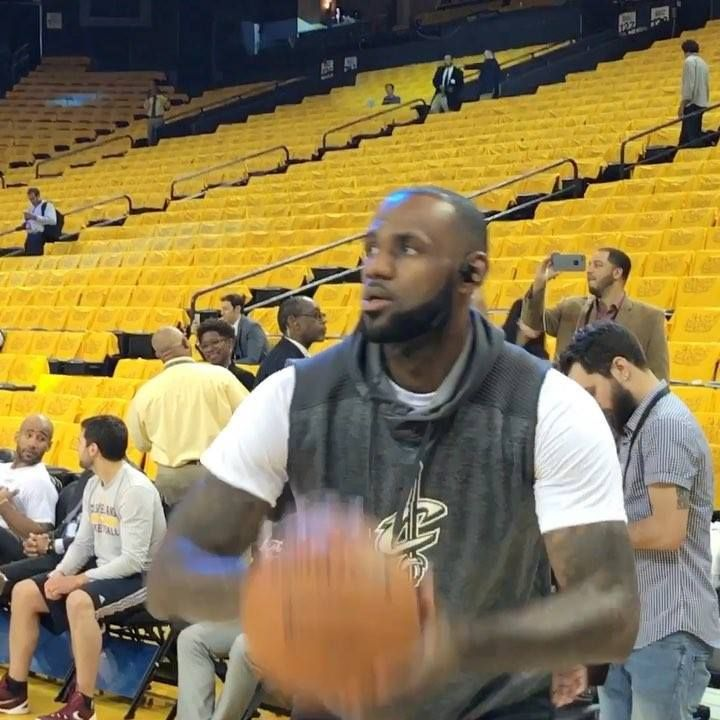 LeBron James and Kevin Durant hit the floor to warm up for tonight's #NBAFinals Game 2 on ABC!