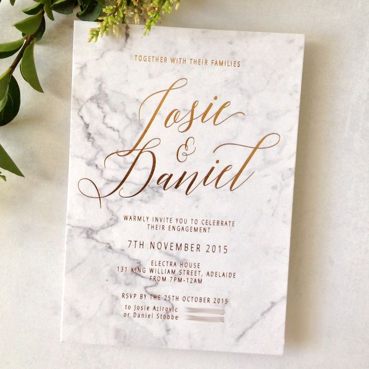 invitation letter for us vissample wedding%0A Wedding invitations Copper foiling on graphic printed marble background on  cotton