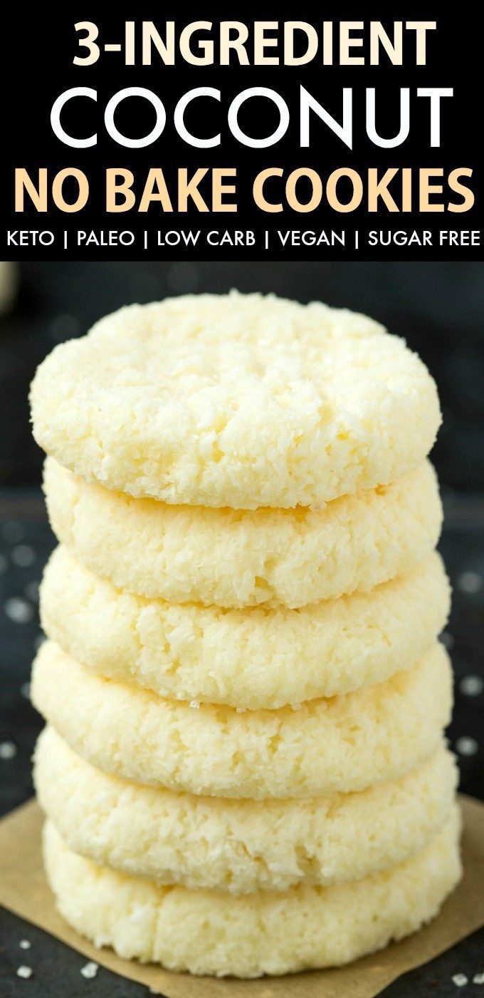 3-Ingredient No Bake Coconut Cookies (Keto, Paleo, Vegan, Sugar Free)- coconut flakes, coconut oil & maple syrup