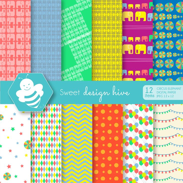 Circus digital paper, Bright Colors, commercial use, scrapbook papers, background, DP4008 by Sweetdesignhive on Etsy