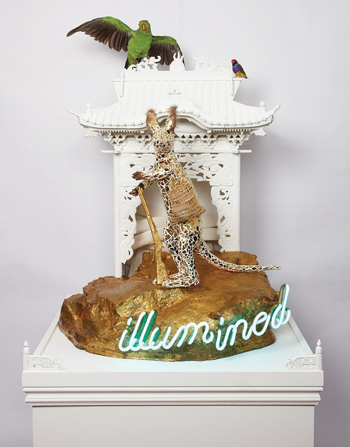 Danie Mellor, 'Advance Australia fair', 2008, taxidermy, mosaic china, painted timber, artificial rock, gold leaf, neon and found objects, 1...