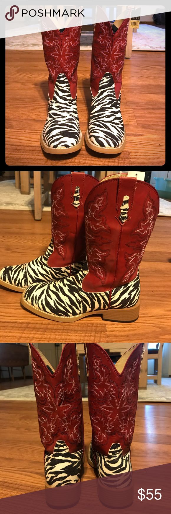 Roper cowboy boots (women's) Brand new Roper cowboy boots! Red and zebra print. Never worn, brand new with tags. Perfect condition! Size 7 Roper Shoes Heeled Boots