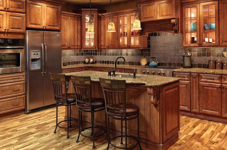 Image result for stained cypress cabinets with light gray ...