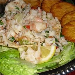 I make this one all the time! Shrimp Ceviche From my beautiful Panama: Ceviche is a seafood salad made with a variety of seafoods such as Corvina(Sea Bass), Talapia, octupus, squid and shrimp and cooked in lemon or lime juice with added spices. It is popular mainly in Latin America countries.