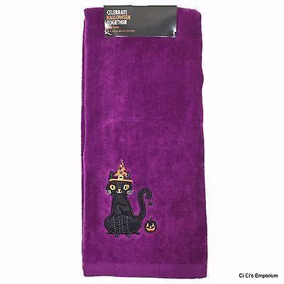 Kohls Celebrate Halloween Hand Towel Set 2 Gray Spiderweb Purple Black Cat   eBay