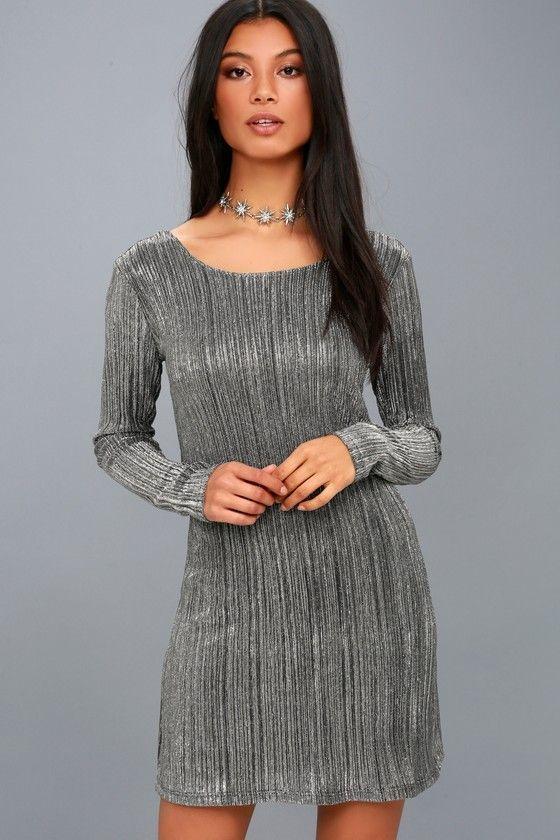 328422b76619 Shine Bright Black and Silver Long Sleeve Bodycon Dress  bodycondresscasual   bodycondresslongsleeve