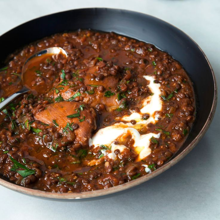 The Ethiopian spice blend called berbere adds delicious warmth to this black lentil and chicken stew.