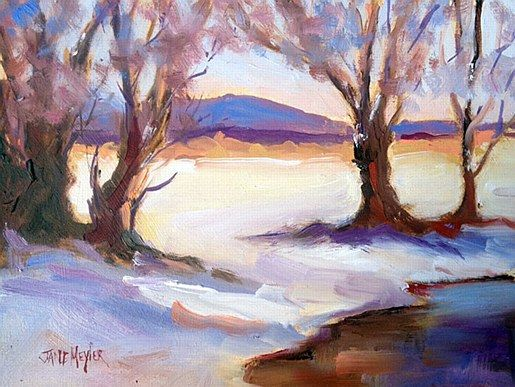 Jane Meyler- Winter Reflection   #art #clouds #snow #landscape #seascape #DukeStreetGallery