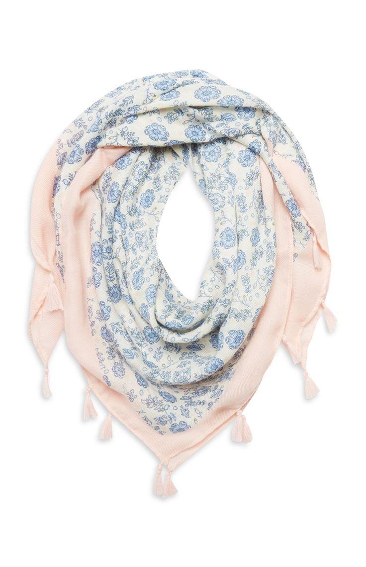 Primark - Blauw-roze sjaal met bloemprint