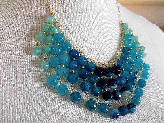 Blue beaded ombre bib necklace