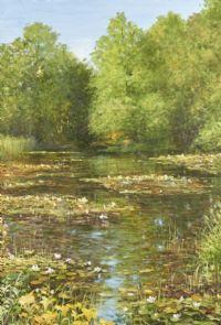 Oljemålning, Humberto Couet Näckrosor, 41x59. Metropol - Auktioner i Stockholm och på nätauktion med konst och inredning - 2028