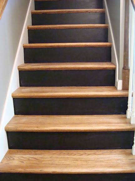 Chalkboard stair risers with natural pine treads a house for Painted stair treads