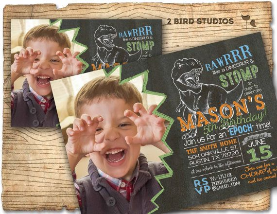 Dinosaur invitation  Dinosaur birthday invitation by 2birdstudios