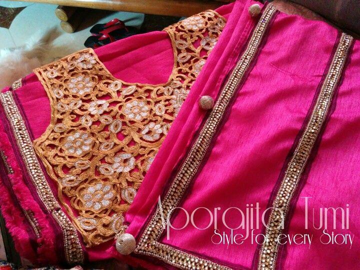 Cutwork blouse with jute katan saree