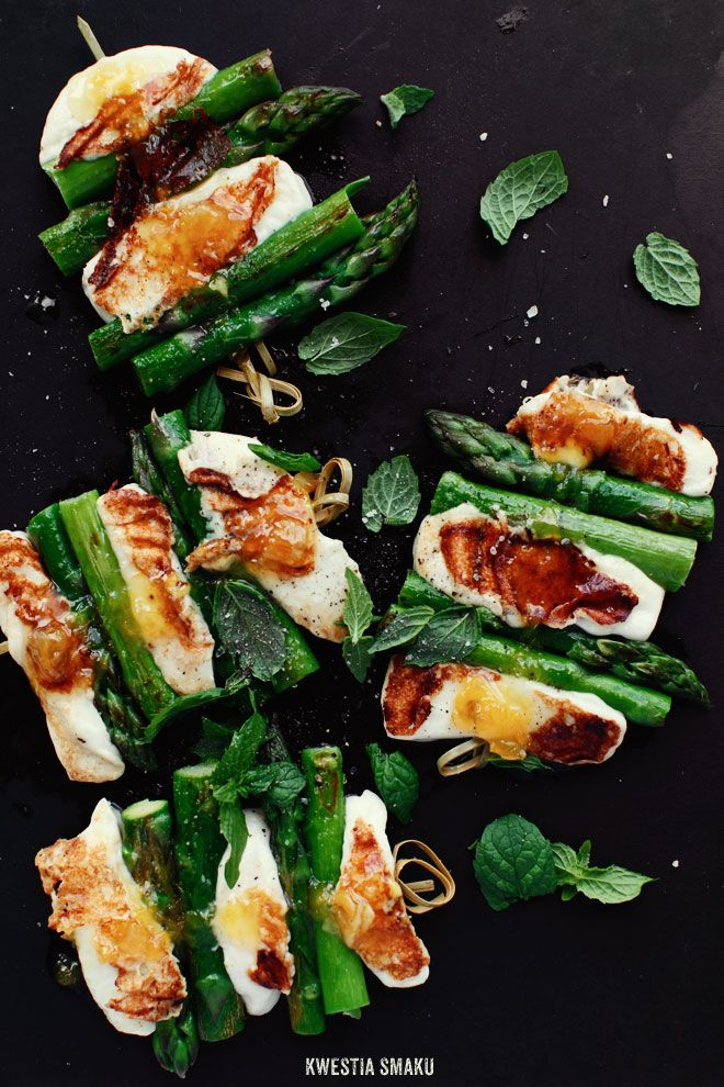 Grilled Asparagus & Cheese Skewers with Mint & Orange Sauce | Kwestia Smaku