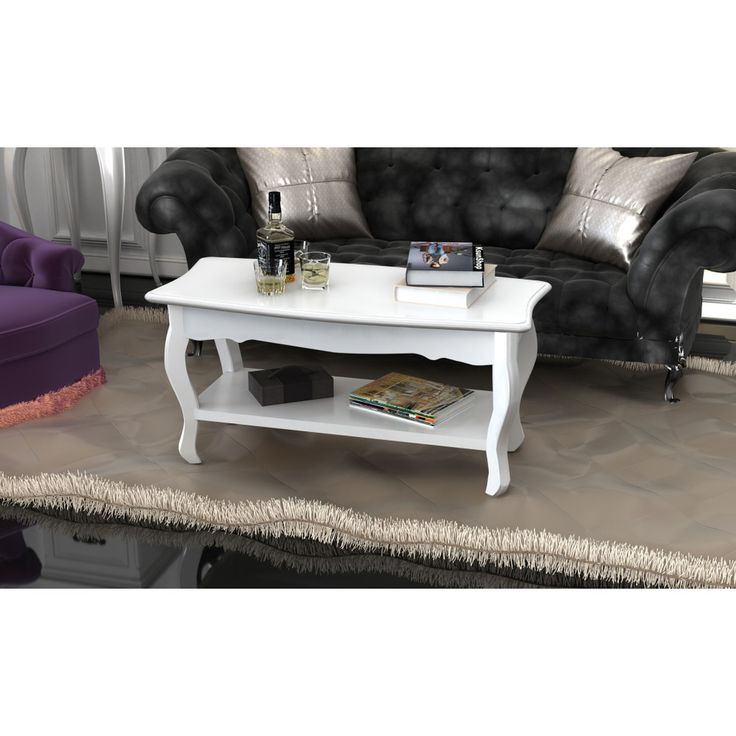 White Coffee Table Living Room Furniture Modern Pine Wood Shabby Chic Contempora