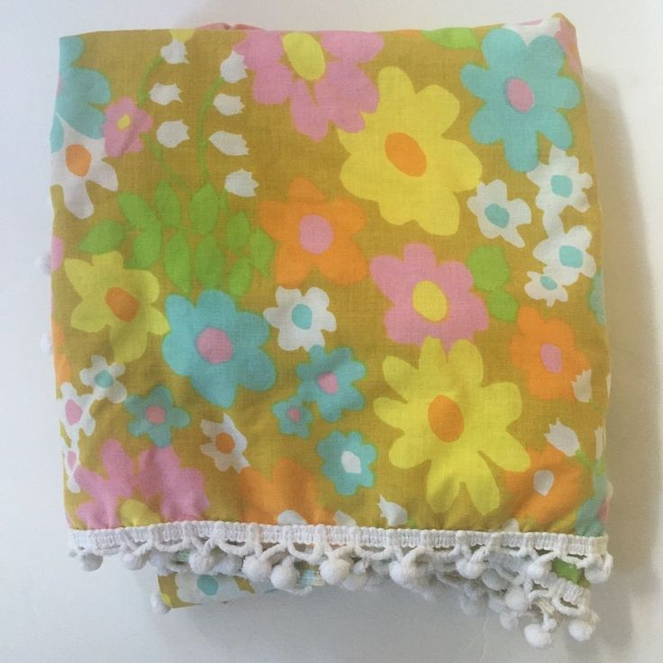 retro pillowcase see more from ebay vintage pacific decorator spread mod groovy floral bright colors pompom fringe