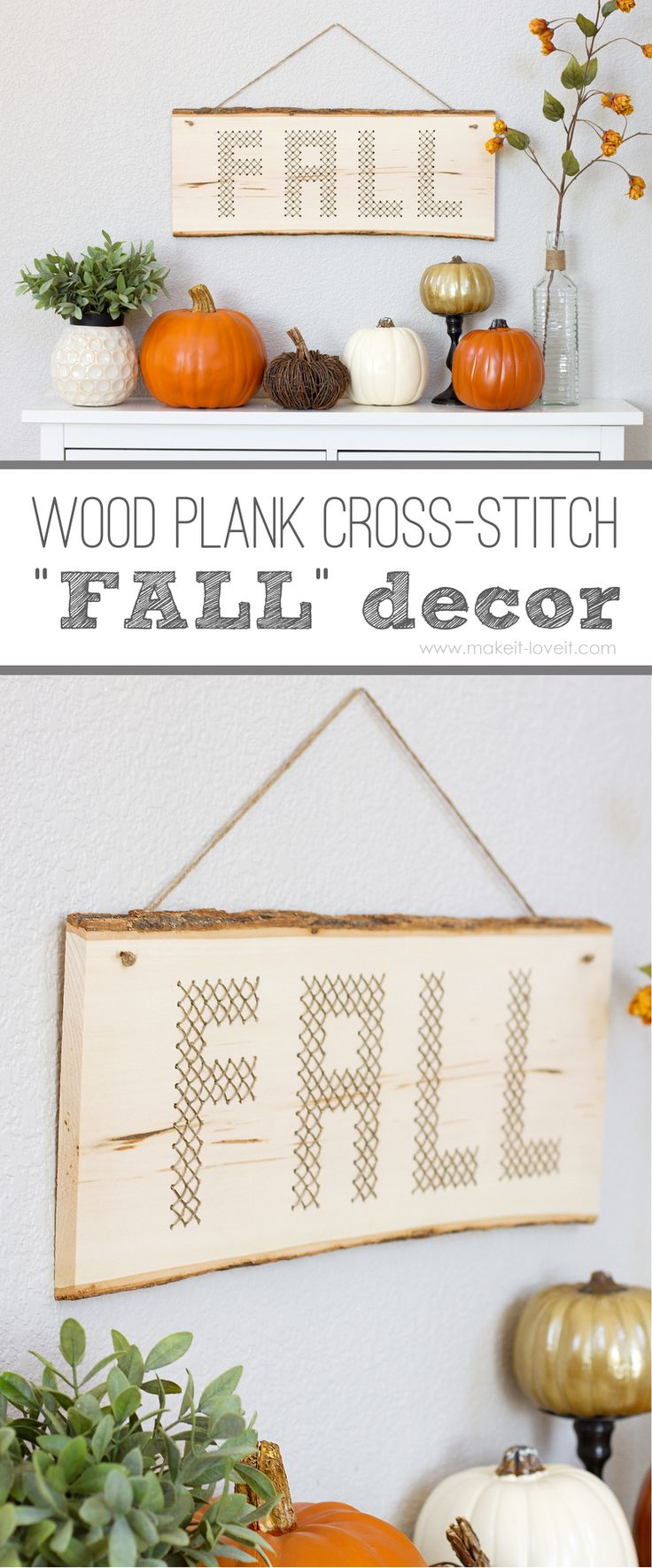 "Wood Plank Cross-Stitch ""FALL"" Decor --- Make It and Love It #MichaelsMakers"