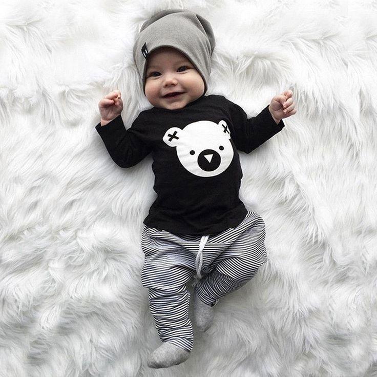 Été 2019 2 pièces bébé garçon vêtements ensembles nouveau-né childish vêtements ensembles coton hauts à la mode + pantalons pantalons tenues ensemble Mamas garçon imprimer
